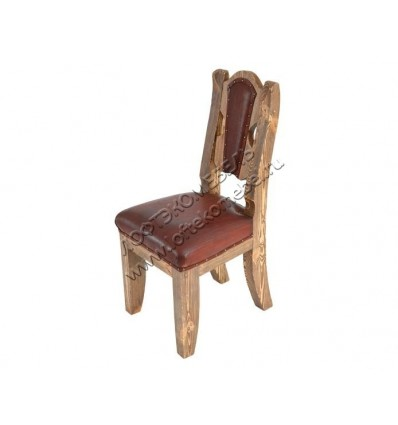 Деревянный стул под старину из массива сосны Атос мягкий
