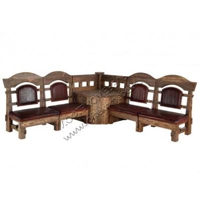 Деревянная скамья под старину из массива сосны Ришелье угловая