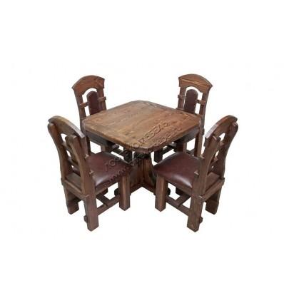 Комплект обеденной мебели под старину из массива сосны Ришелье