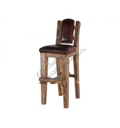Деревянный стул барный под старину из массива сосны Ришелье
