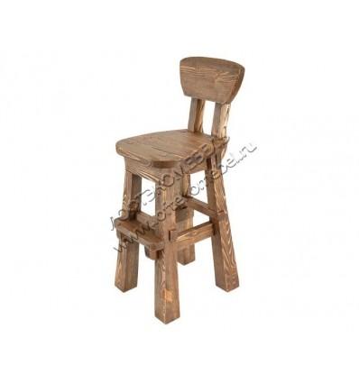 Деревянный стул барный под старину из массива сосны Рыбак