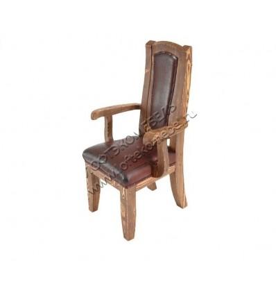 Деревянное кресло под старину из массива сосны Атос мягкое