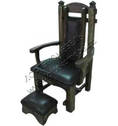 Кресло и пуфик под старину из массива дерева сосны Трон